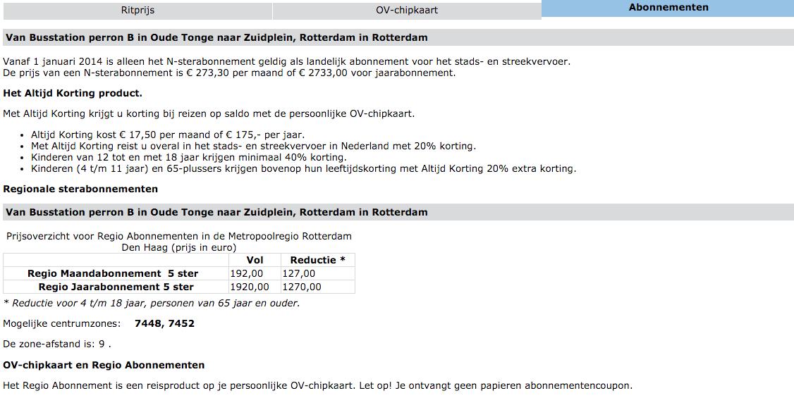 Abonnementen voor de reis van Oude Tonge naar Rotterdam Zuidplein
