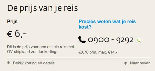 De prijs voor een enkele reis met openbaar vervoer van Oude Tonge naar Rotterdam Zuidplein is €6,00